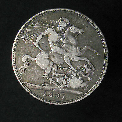 1891 Great Britian Crown large silver coin KM# 765