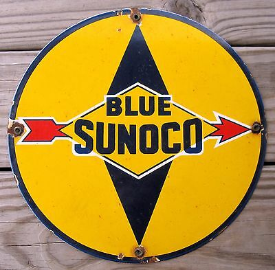 Blue Sunoco Gasoline Porcelain Enamel Gas Pump Oil Service Station Metal Sign