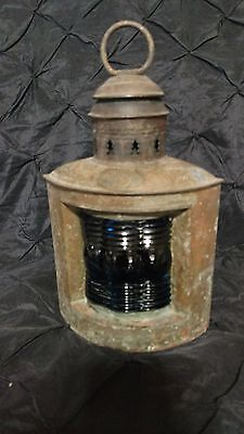 Antique TRIPLEX LANTERN BLUE GLASS NICE!!