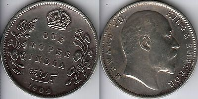 1904 India British 1 One Rupee 91.7% Silver coin
