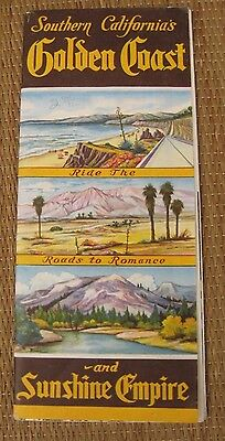 VTG 50's SOUTHERN CALIFORNIA SUNSHINE EMPIRE GOLDEN COAST BOCHURE GUIDE MAP