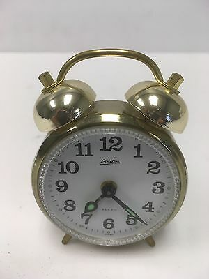 Vintage Linden Retro Small Bedside Twin Bell Travel Alarm Clock Made In Japan