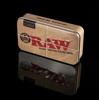 RAW Stash Tin, 3 X RAW Organic Rolling Papers, 2 X Roach Book | RAW Skins Papers