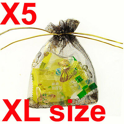 x5 XL black butterfly organza gift candy bags jewellery favour pouches wrap