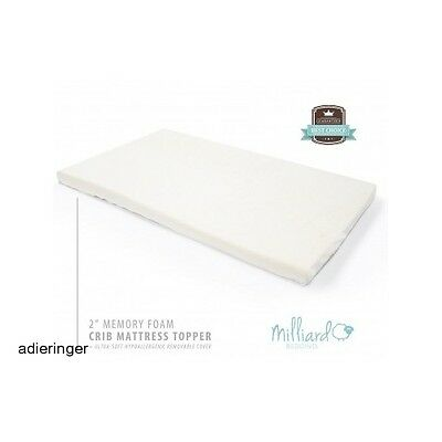 Memory Foam Crib Mattress Topper Toddler Infant Comfort Removable Cover