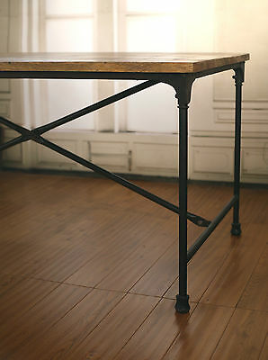 EX-DISPLAY Dining Table French Industrial Hardwood Metal 160x90cm Rustic Timber