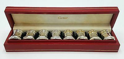 Vintage Cartier Sterling Silver Set Of 8 Salt & Pepper Shakers Gilt Wash In Box