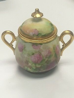 "PICKARD PInk Thistle Hand Painted Sugar Jar w Lid Gold Handles 5.25"" Tall Reury"