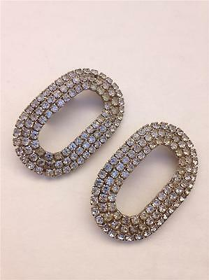 2 Large Vintage Art Deco Silvertone with Clear Rhinestones Shoe or Dress Clips