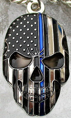 Police Thin Blue Line USA Flag Skull Key Fob Ring NYPD Punisher Challenge Coin