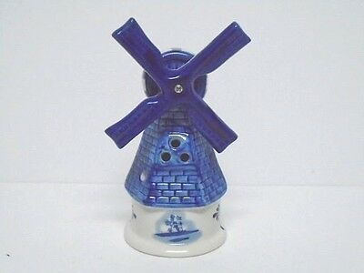 Delft Blue Hand Painted Windmill Vntg.Believe Sits Over Votive Candle Ex. Cond.