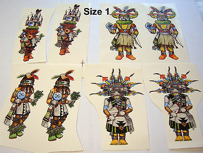 Native American Hopi  Kachina Ceramic Decals 4 Different Styles In 4 Sizes