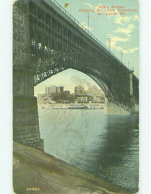 Divided-Back BRIDGE SCENE St. Louis Missouri MO HJ1698