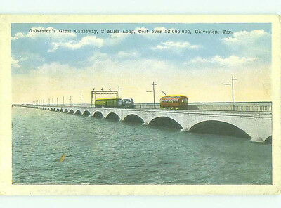 Unused W-Border BRIDGE SCENE Galveston - Near Houston Texas TX HJ0251