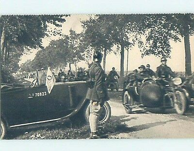 Pre-Linen foreign SIDECAR MOTORCYCLES USED BY ARMY SOLDIERS IN FRANCE HL9758
