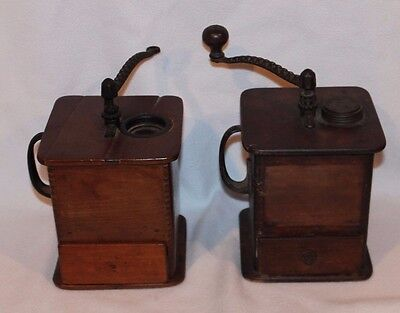 2 Antique Coffee Grinder Mill Cast Iron Hand Crank Wooden Dovetailed Box