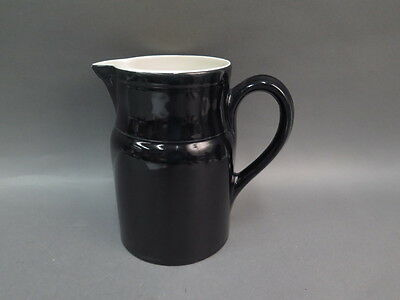 "Vintage Large Ceramic Black Pottery Pitcher Made in France 8"" x 8 1/2"""