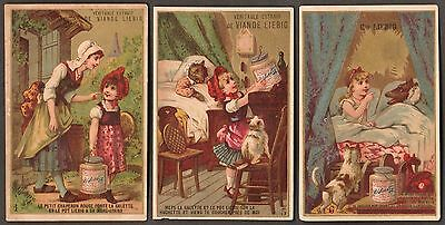 "LIEBIG S-115 ""LITTLE RED RIDING HOOD""  3 TRADE CARDS #'s 1, 5, 6 1883- FRENCH"