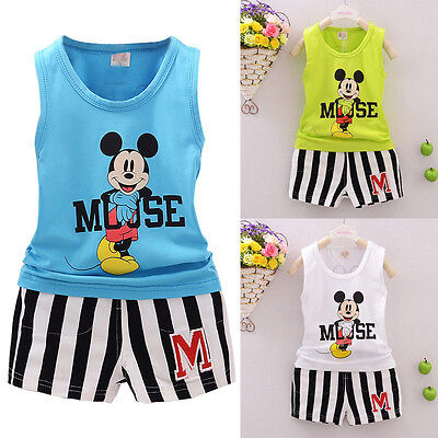 Summer Kids Baby Boys Girls Outfits Micky Mouse T-shirt+Shorts 2PCS Clothes Set
