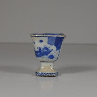 Chinese Blue and white Porcelain mini Stem Cup - Calligraphy scenery - china