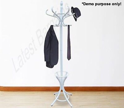 12 Hook Wooden Coat Rack Hat Bag Umbrella Stand White Tree Style Clothes Hanger
