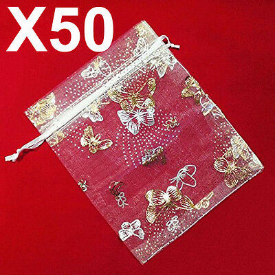 50 MEDIUM white butterfly organza gift candy bags jewellery favour pouches wrap