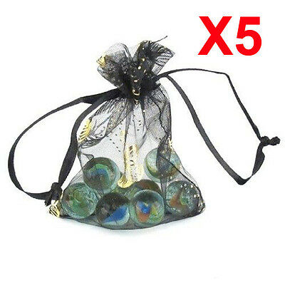X5 MEDIUM black butterfly organza gift candy bags jewellery favour pouches wrap