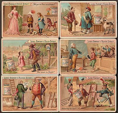 "Liebig S-384 ""puzzles Xvii(Hidden Objects)"" Full Set 6 Trade Cards 1893- German"