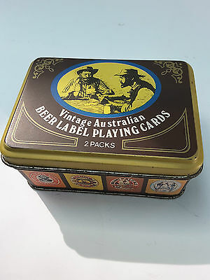 Tin Containing Two Repro. Vintage Brewery Packs Of Cards...