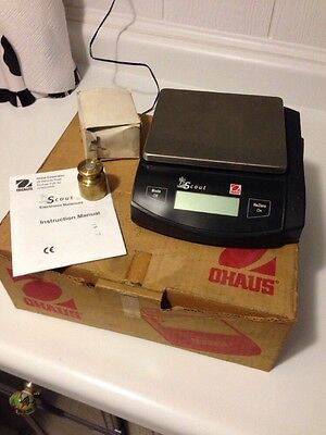Ohaus Scout SC4010 Precision Lab Scale w/ Calibration Weight & Power Adapter