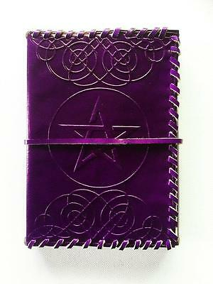 Leather Bound Journal Book Of Shadows Purple Pentagram Blank Pages