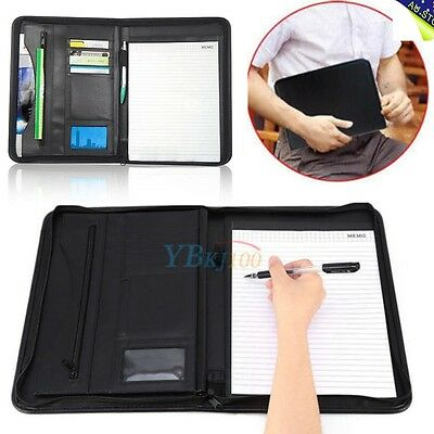 A4 Executive Conference Folder PU Portfolio Zipped Leather Look Organiser Case