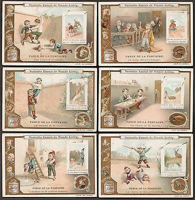 "Liebig S-625 ""la Fontaine's Fables Iii"" Full Set Of 6 Trade Cards 1900- French"