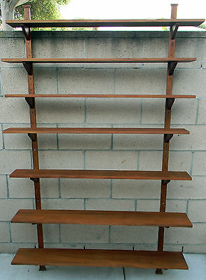 Vintage Mid Century Modern Walnut Wall Shelf Unit Poul Cadovius Era