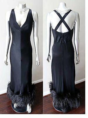 Bergdorf Goodman Couture Vintage 50s Ostrich Feather Silk Black Cocktail Dress S