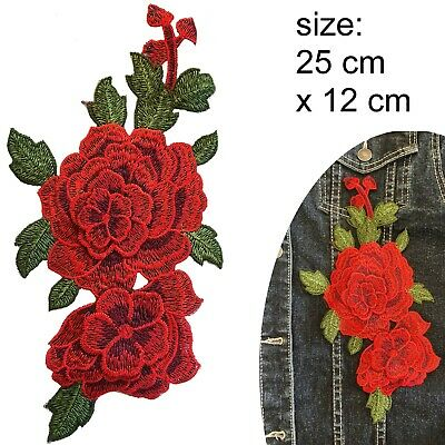 Roses Sew on patch - 4 red flower blossoms on 1 woven embroidery with rose leaf