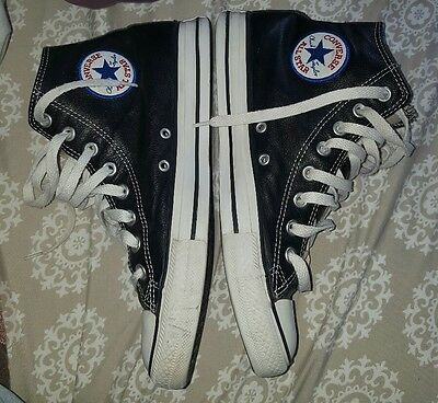 Converse All Star Chuck Taylor High Top Sneakers Black leather!