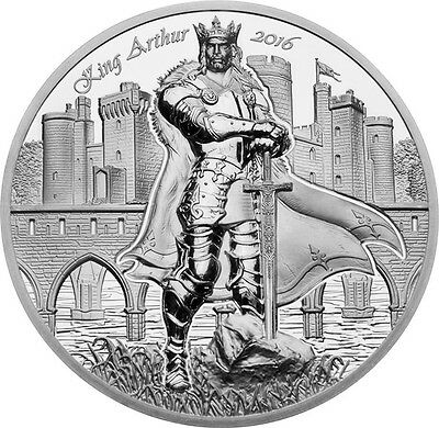 2016 $10 King Arthur - Legends Of Camelot High Relief 2oz Silver Coin