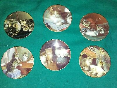 """vtg small 3"""" collector KITTY CAT  plates lot of six"""