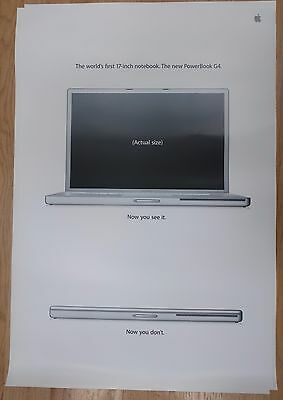 """Apple Computer Poster """"The New PowerBook G4"""" The World's First 17-inch Notebook"""