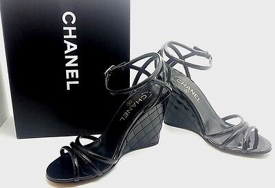 CHANEL LADIES SHOES Black Patent Leather Strappy Wedge Sandal NEW SZ 37 AUTH
