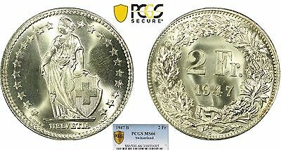 Silver 1947-B Switzerland 2 Francs PCGS MS66 Gem BU UNC Uncirculated Swiss Coin