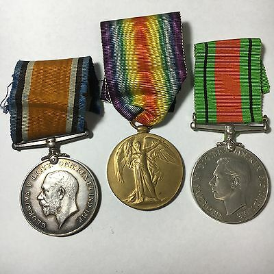 WW1 pair and WW2 Defence Medal -Labour Corps (Killed in the Blitz WW2 as ARP)