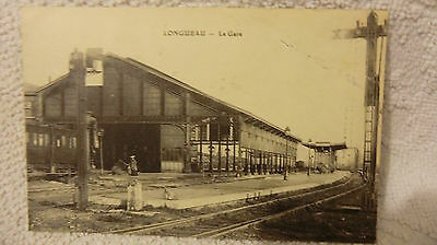 carte postale ancienne LONGUEAU la gare train