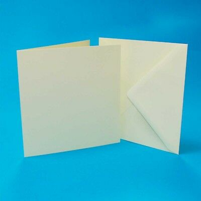 """Craft UK blank greeting Cards & Envelopes Square 6"""" x 6 inch ivory colour x 50"""