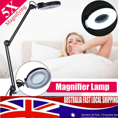 Magnifying Lamp 5X Illuminated SMD Light Glass Lens Rolling Desk Clamp Stand AU