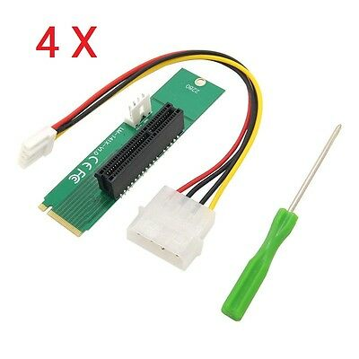 4X PCI-E 4X Female to NGFF M.2 M Male Adapter Key Power Cable & Converter Card