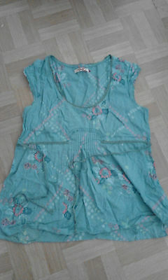 Ladies summer turqoise blue floral top size 12 white stuff