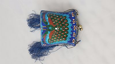 Beautiful Vintage Chinese Cloisonne Peacock Purse Handbag Evening Bag & Chain