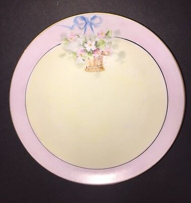 Gunther China CO. Saucer Plate Pink Floral Bouquet Gold Trim Hand Painted 6 3/4""